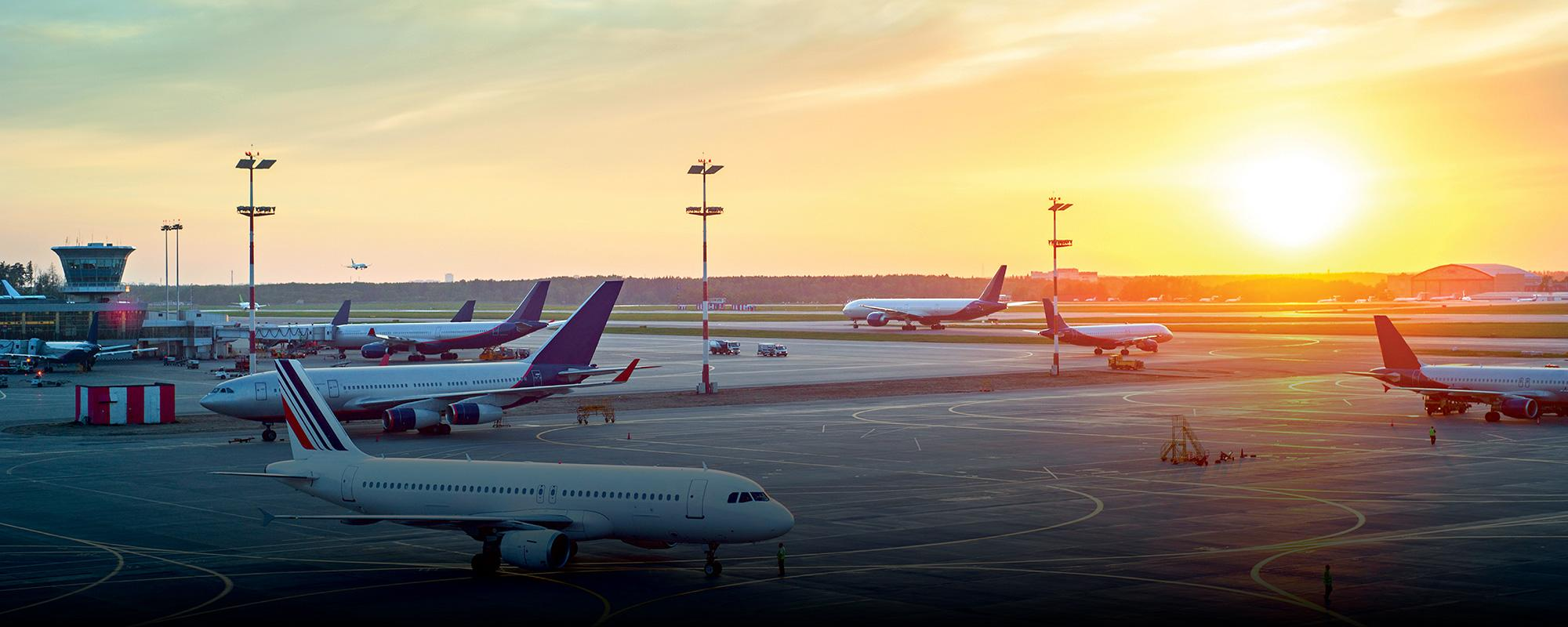 airport view at sunrise