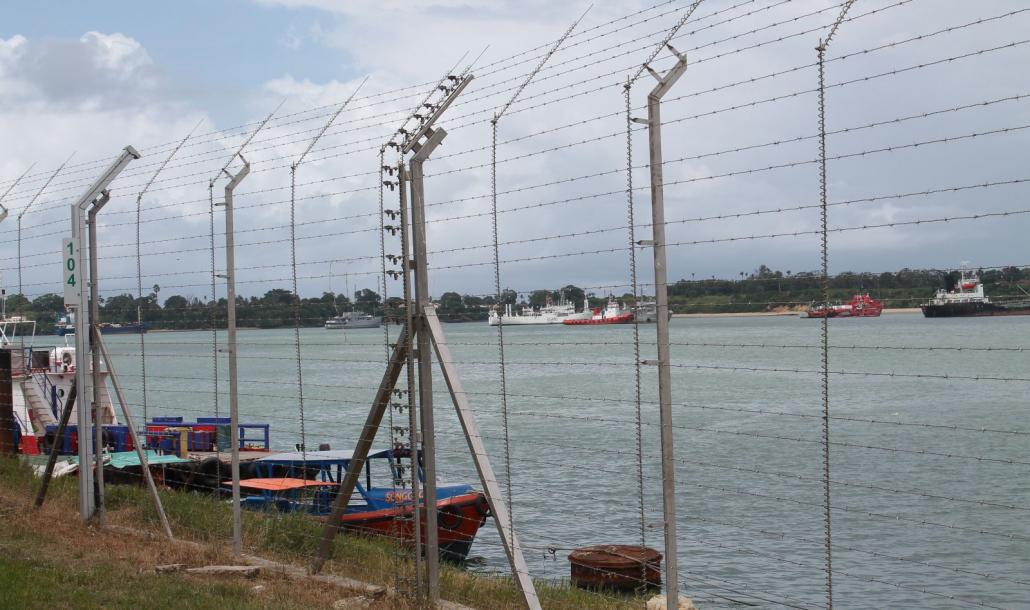 Mombasa Port - DTR fence across the pier